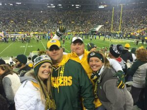 Travis and His Wife at Lambeau Field